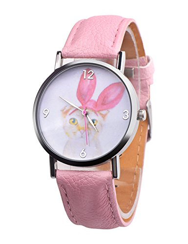 37mm Watch White Dial (Women Quartz Watches COOKI Clearance Analog on Sale Cute Cat Tiger Pattern Ladies Wrist Watches Teen Girl Watches Leather Female Watches New-A299 (pink))