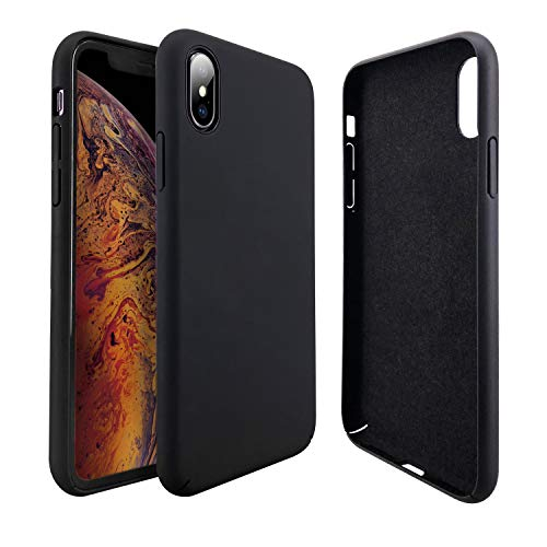 Molzar [Slim Fit Series] iPhone Xs Max Case, Matte Finish Grip, Hard Plastic PC + Soft Microfiber Cloth Lining Cushion, Compatible with Apple iPhone Xs Max, 6.5 inches, Black