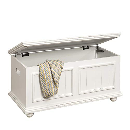 HomePop Notting Hill Wood Storage Trunk  with Hinged Lid, Bright White
