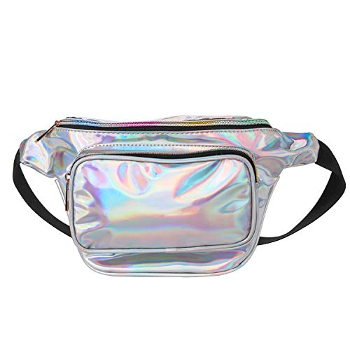 Mingus Women Waist Pack Holographic Shiny Fanny Pack Fashion Bum Bag for Rave, Festival ()