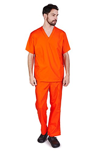 M&M SCRUBS Men Scrub Set Medical Scrub Top and Pants M Orange (Prison Clothes)