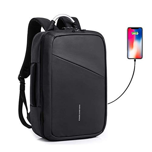 (Convertible Slim Backpack 15 Inch Laptop Anti Theft Business School Travel Water Resistant Daypack Bag with USB Black Briefcase Backpack)