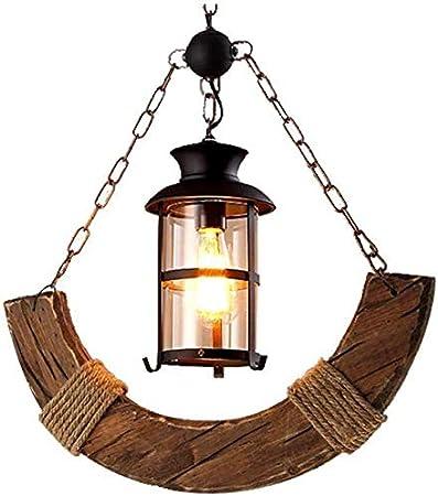 Araña de luces Iluminación para el hogar, elegante American Village marihuana arañas arañas de madera de madera viejo barco barra de madera restaurante Cafe Cafe Cafe Bar lámpara industria de la lámpa