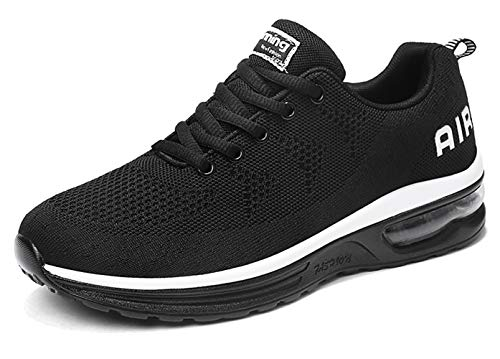 SKDOIUL Men air Cushion Sports Trail Running Shoes Flyknit Breathable Comfort Athletic Walking Fashion Sneakers Youth Boys Gym Workout Trail Tennis Shoes Blackwhite Size 10 (835-Blackwhite-44)