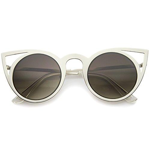 Womens Fashion Round Metal Cut-Out Flash Mirror Lens Cat Eye Sunglasses ()