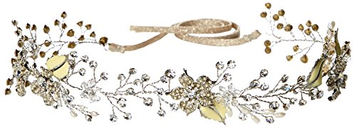 Twigs & Honey Women's Beaded Gold Blossom Vine Bridal Hairpiece, Silver, One Size by Twigs & Honey