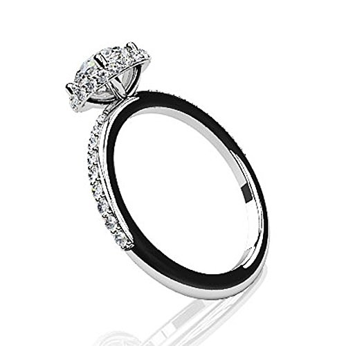 Or blanc 14 K Enchanting Halo Diamant Bague de fiançailles