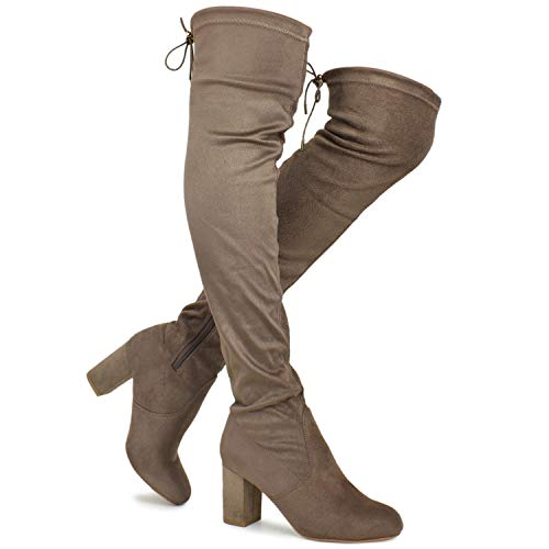 Premier Standard - Women Fashion Comfy Vegan Suede Block Heel Slip On Thigh High Over The Knee Boots, TPS Boots-20Atinob Taupe Su Size 11]()