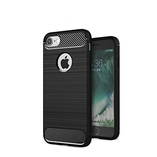 Custodia per iPhone8 ,Custodia per iPhone7 ,ZXLZKQ Nero Lusso Cover Morbido TPU Silicone Case Custodia Shockproof Protezione Bumper Back per iPhone8/ iPhone7