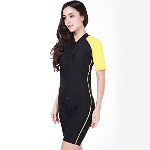 """Women's One-piece Surf Swim Wet Suit Short Sleeve Rashguard (color 4, L(height:5'7""""-5'9""""))"""