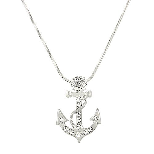 Liavy's Anchor Charm Pendant Fashionable Necklace - Sparkling Crystal - 17