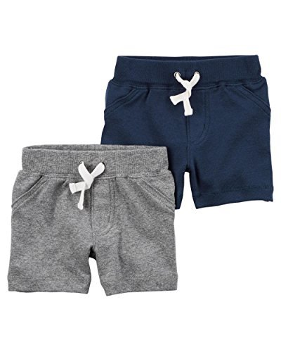 Carter's Baby Boys' 2 Pack Pants, Grey/Navy Shorts, 18 Months