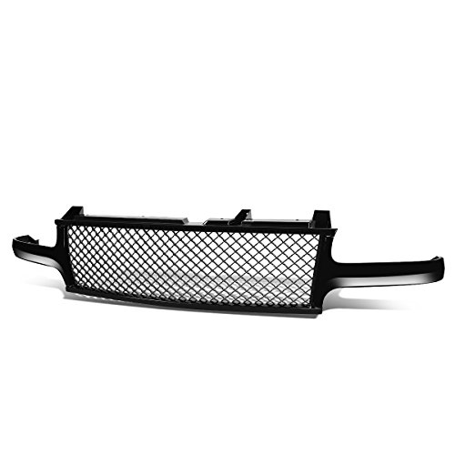 Silverado / Tahoe / Suburban Badgeless Diamond Mesh Front Upper Bumper Grille Guard (Glossy Black) - GMT800 1500 (Silverado Chevy Diamond)