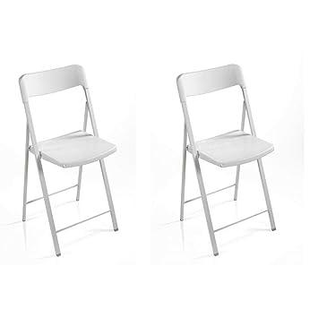 Inside Juego de 2 sillas Plegables kully Blancas: Amazon.es ...