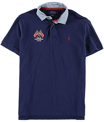 Ralph Lauren Mens Custom Fit Rugby Polo Shirt, Blue, Medium