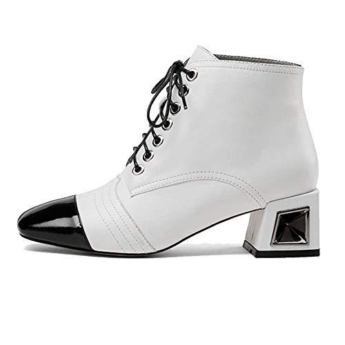 Femmes Mode Pour Sauvage Chaussures Dentelle Cuir Zqzq Bottillons White 0FBIxztq