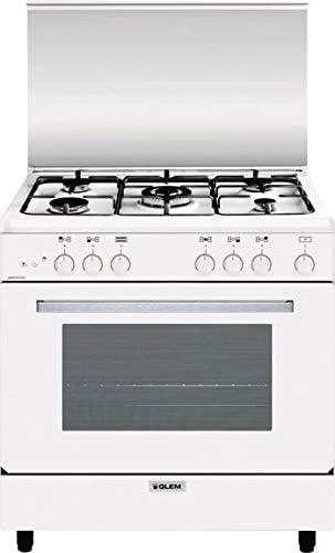 Cucina A Gas 5 Fuochi Con Forno A Gas 80x50 Colore Bianco Amazon It Grandi Elettrodomestici