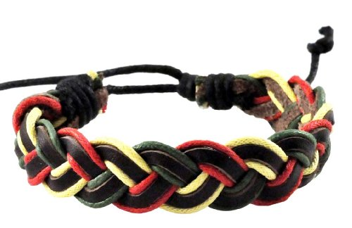 Unisex Rasta Pot Leaf Hippie PU Leather Wristband Bracelet (Braided Unisex - Marijuana Wristbands