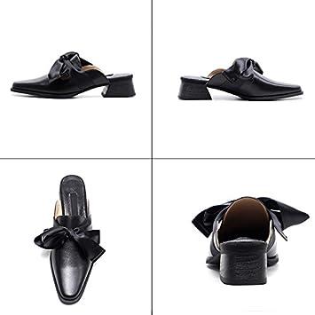 Medio Cuadrada Cabeza Muller Vacuno Zapatos Baotou Jianxin Tacón 5T0wAqExx