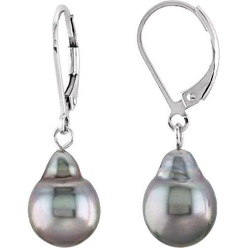 9mm Tahitian Cultured Pearl Earrings in Sterling Silver by Bonyak Jewelry