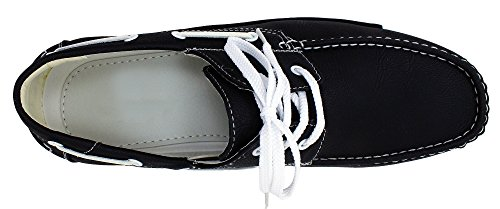 Enimay Men's Free Slip-On Loafer Boat Shoe PU Leather Fine Crafted Lounge Black White 8.5 by Enimay (Image #4)