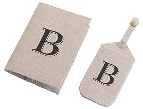 Lillian Rose Monogram Letter S Luggage Tag/Passport Cover, Tan by Lillian Rose (Image #1)