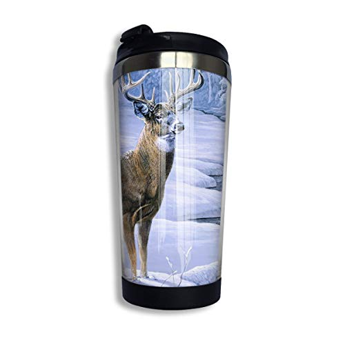 Coffee Thermos Cup Winter Deer Stainless Steel Travel Mug Cup Water Bottle -