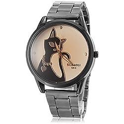 Sports Watches Relojes de Hombre Reloj patrón del Gato de Banda de Acero de línea de Pulsera de Cuarzo de Las Mujeres (Colores Surtidos) Relojes de Mujer (Color : Negro, Talla : Una Talla)