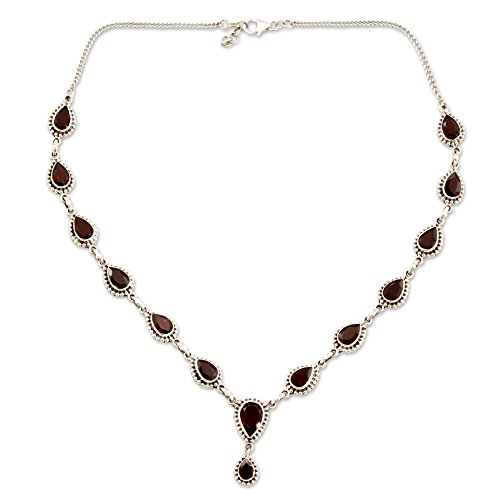 NOVICA .925 Sterling Silver and Garnet Y-Necklace, 17'', 'Halo of Beauty' by NOVICA