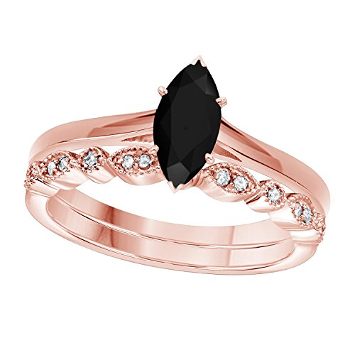 (Gems and Jewels 1.00 Ct Marquise Shape & Round Cut Black CZ Diamond & White CZ Diamond 14k Rose Gold Plated Art Deco Vintage Design Wedding Bridal Set Engagement Ring)