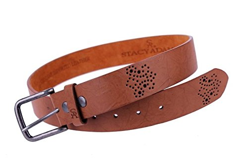Stacy Adams 6-204 Casual Wrinkled Grain Mens Adjustable Belt with Perforated Detail, Nickle Finish Buckle (38, Tan) (Adam Buckle Belt)