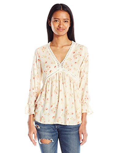 Angie Long Sleeve - Angie Women's Long Sleeve Top with Crochet Neckline, Ivory, Small
