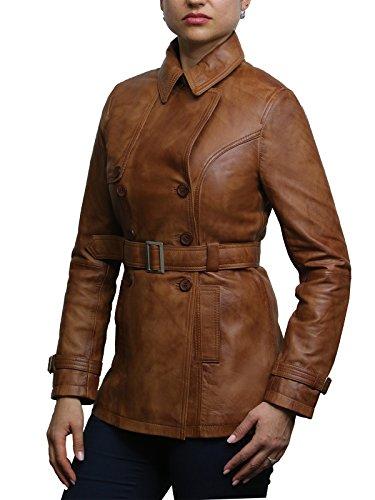Cuoio Tan Donne Retro Motociclista Design Superior Cappotto Abbronzatura Brandslock Del Vintage Rivestimento 5OqXRXw