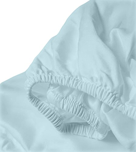 Whisper Linen - Whisper Organics Organic Cotton Crib Sheet GOTS Certified, 300 Thread Count, Sateen, Luxury Super Soft Best Price (52x28x9, Ocean Blue)