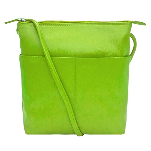 with RFID ili Crossbody Midi Leather 6661 Handbag Sac Leaf Lining w0gqwfY
