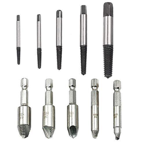 5Pcs Damaged Screw Extractor Bolt Screw Stud Remover Set Drill Hex Shank 1/4'' + 5Pcs Guide Broken Damaged Bolt Remover Tools Kit