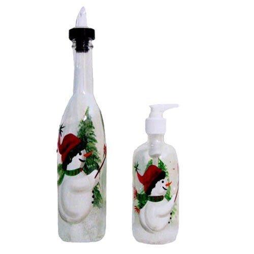 Snowman Design Pour Bottle & Soap Dispenser Set. Hand Painted -