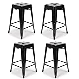 Flash Furniture 24-Inch High Backless Black Metal Indoor-Outdoor Counter Height Stool with Square Seat, 4-Pack