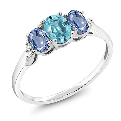 Gem Stone King 10K White Gold 1.32 Ct Blue Zircon Blue Sapphire 3-Stone Ring With Accent Diamond (Size 7)