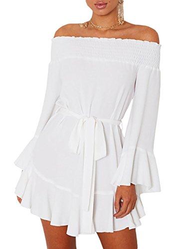 Auspicious Frauen-schulter-rüschen-partei-kleid-beiläufiges Strand-minikleid Weiß Beginning