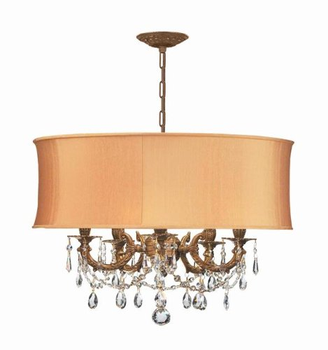 Crystorama 5535-AG-SHG-CLS Gramercy - Five Light Chandelier, Choose Finish: Aged Brass, Shade Options: Silk Harvest Gold