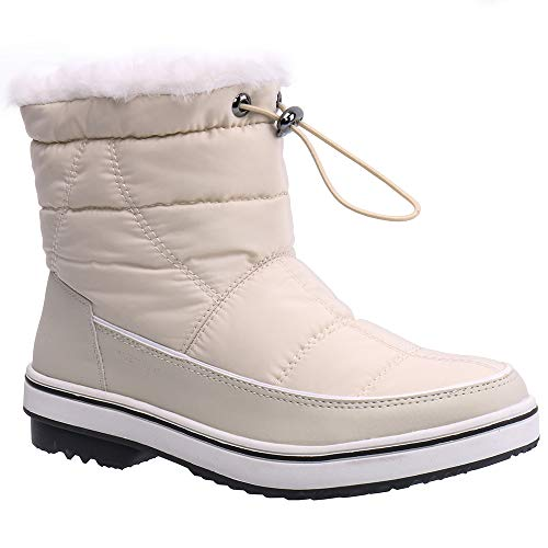 6b189d7c0369 ALEADER Women s Terra Waterproof Winter Ankle Snow Boots Beige 6 D(M) US  (Apparel)