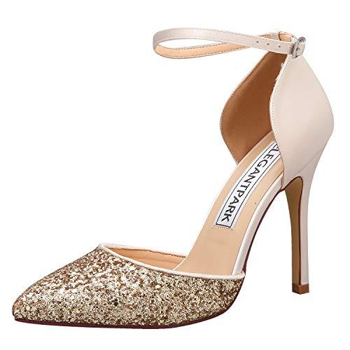 (ElegantPark HC1902 Women High Heel Pumps Pointed Toe Ankle Strap Wedding Bridal Evening Party Dress Shoes Satin Glitter Champagne US 6.5)