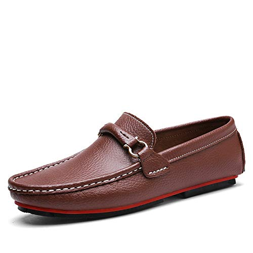 Metallic Leather Calfskin (Gobling Mens Driving Loafer, Stylish Matching Colour Leather Boat Moccasins Anti-Slip Metallic Decoration Pull-on Flat Shoes (Color : Brown, Size : 6.5 M US))