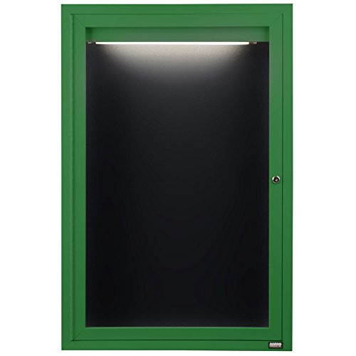 TableTop King ADC3624IG 36'' x 24'' Enclosed Hinged Locking 1 Door Powder Coated Green Aluminum Indoor Lighted Message Center with Black Letter Board by TableTop King