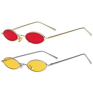 AOOFFIV Vintage Slender Oval Sunglasses Small Metal Frame Candy Colors …