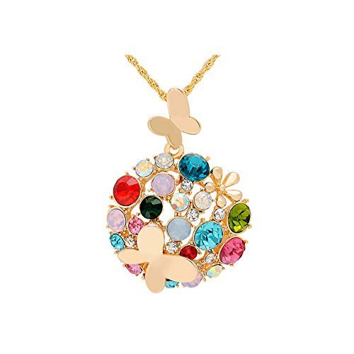 Winter's Secret Flowers City Colorful Crystals Set Butterfly Hollow Gold Round Pendant Women - Anastasia Jewelry Set