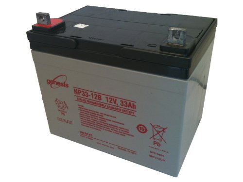 Enersys Genesis Np33 12B   12 Volt 33 Amp Hour Sealed Lead Acid Battery With Nut   Bolt Terminal