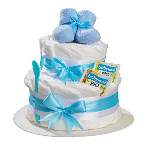 Homery Luiertaart 2 verdiepingen met babysokken in blauw of roze als cadeau voor geboorte of babyshower voor jongens of…