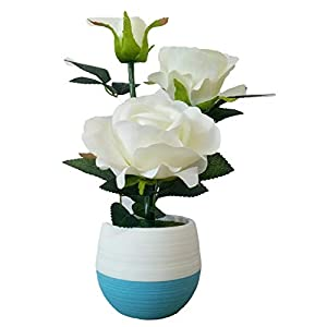Artificial Flowers Potted Design Silk Rose Arrangements House Offices Restaurant Table Centerpieces Windowsill Decor 87